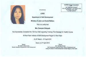 Thaimassage Zertifikat Duen