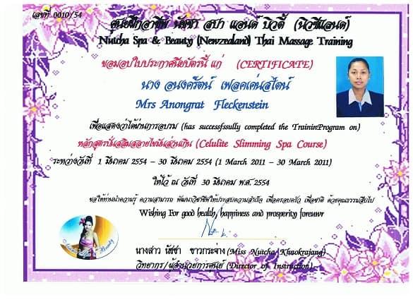 Thaimassage Zeugnis Matt